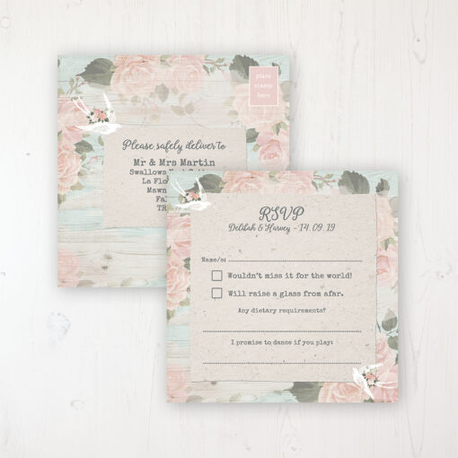 Dancing Swallows Wedding RSVP Postcard Personalised Front & Back