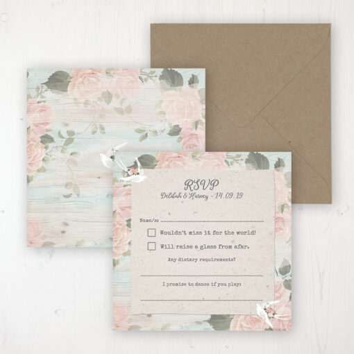 Dancing Swallows Wedding RSVP Personalised Front & Back with Rustic Envelope