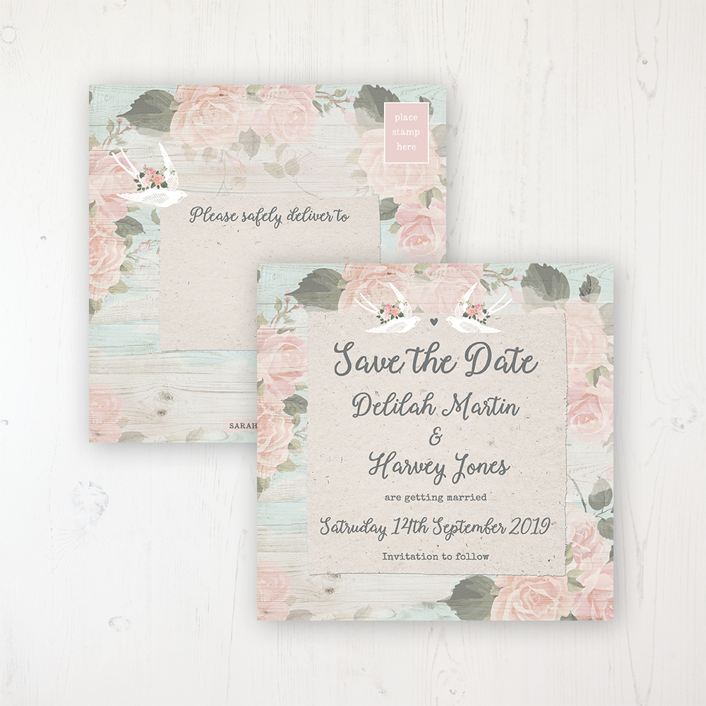 Dancing Swallows Wedding Save the Date Postcard Personalised Front & Back