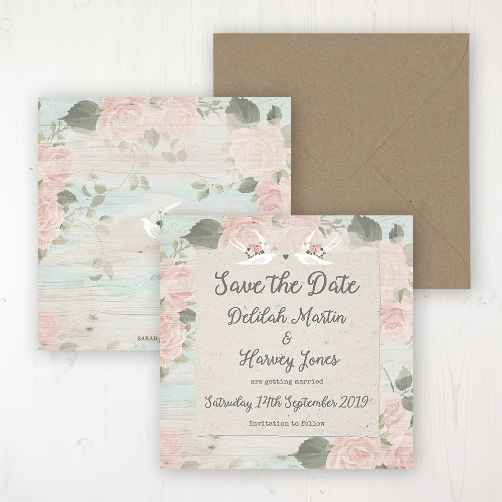 Dancing Swallows Wedding Save the Date Personalised Front & Back with Rustic Envelope