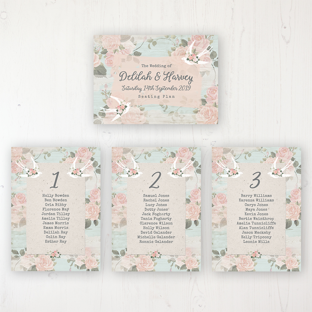Dancing Swallows Wedding Table Plan Cards Personalised with Table Names and Guest Names