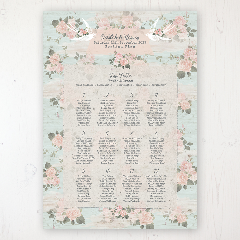 Dancing Swallows Wedding Table Plan Poster Personalised with Table and Guest Names
