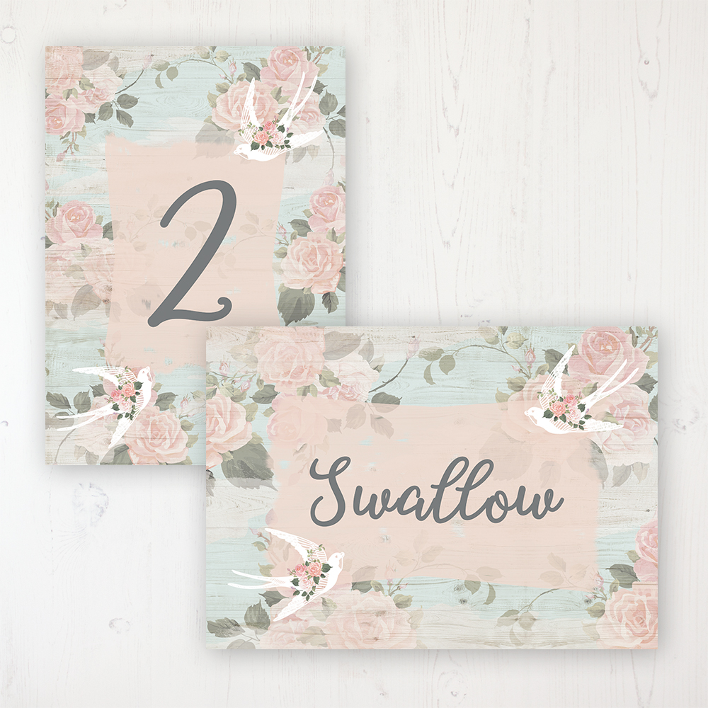 Dancing Swallows Wedding Table Name & Number Personalised Table Name Card and Number Card