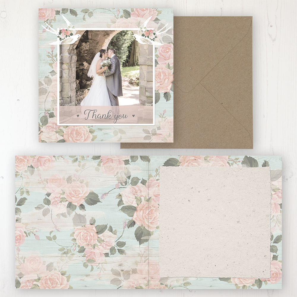 Dancing Swallows Wedding Thank You Card - Folded Personalised with a Message & Photo