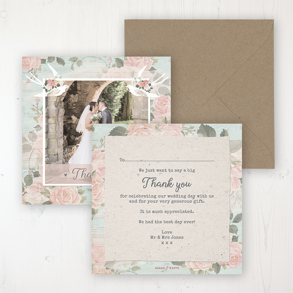 Dancing Swallows Wedding Thank You Card - Flat Personalised with a Message & Photo