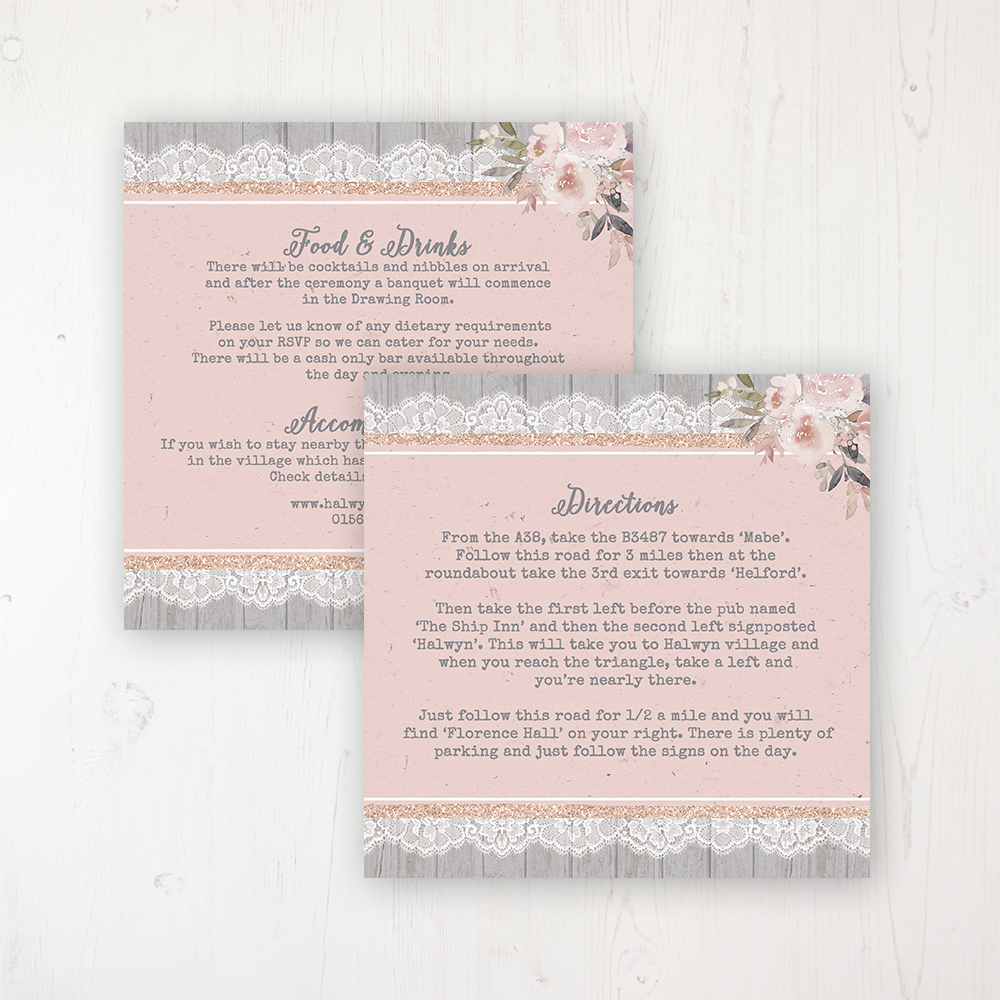 Delicate Mist Wedding Info Insert Card Personalised Front & Back