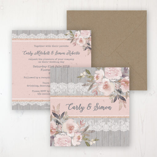 Delicate Mist Wedding Invitation - Flat Personalised Front & Back with Rustic Envelope