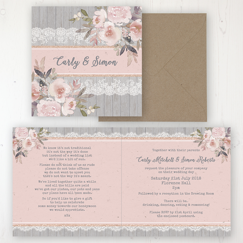 Delicate Mist Wedding Invitation - Folded Personalised Front & Back with Rustic Envelope