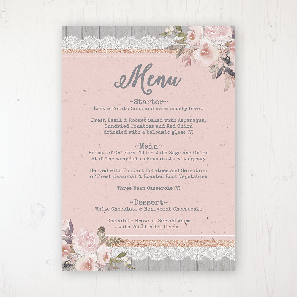 Delicate Mist Wedding Menu Card Personalised to display on tables