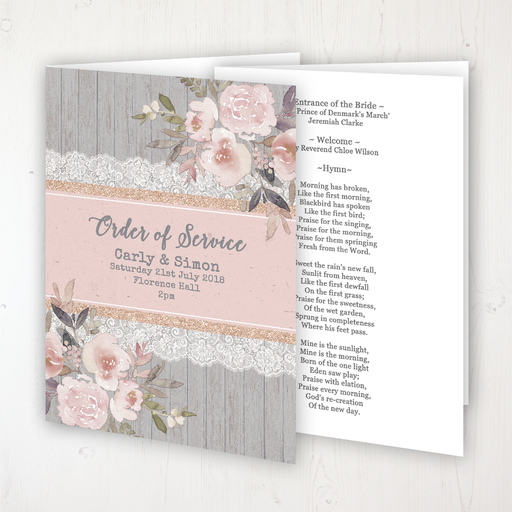 Delicate Mist Wedding Order of Service - Booklet Personalised Front & Inside Pages