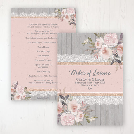 Delicate Mist Wedding Order of Service - Card Personalised front and back