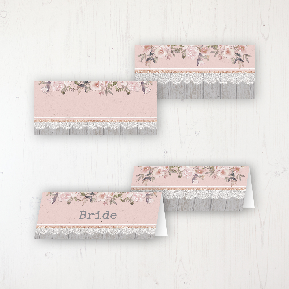 Delicate Mist Wedding Place Name Cards Blank and Personalised with Flat or Folded Option