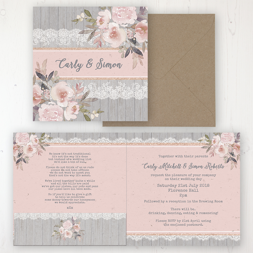 Delicate Mist Wedding Invitation - Folded Personalised Front & Back with Pocket in inside cover. Includes Rustic Envelope