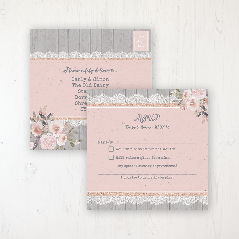Delicate Mist Wedding RSVP Postcard Personalised Front & Back