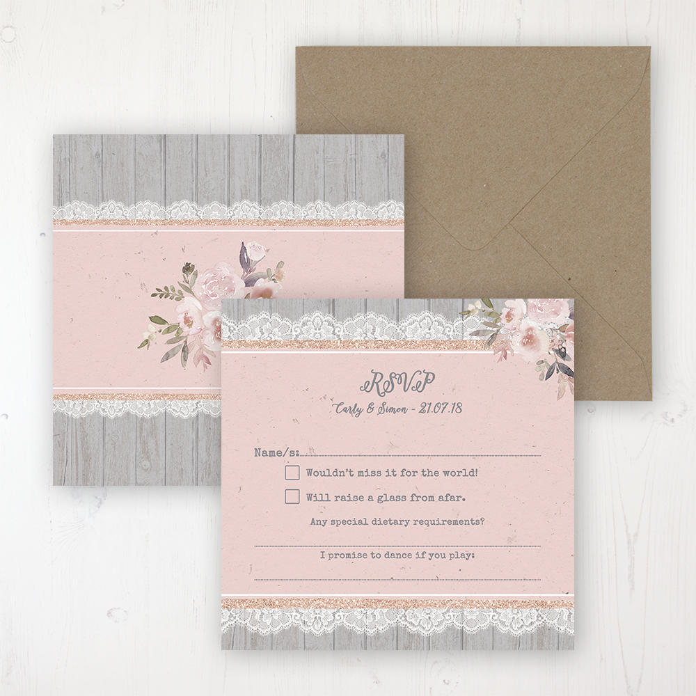 Delicate Mist Wedding RSVP Personalised Front & Back with Rustic Envelope