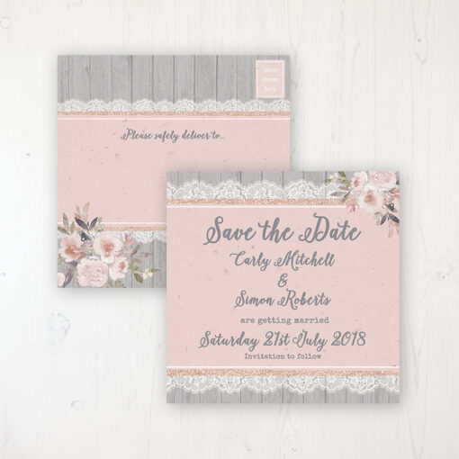 Delicate Mist Wedding Save the Date Postcard Personalised Front & Back