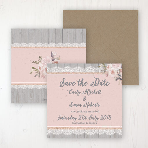 Delicate Mist Wedding Save the Date Personalised Front & Back with Rustic Envelope