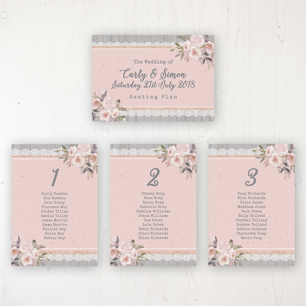 Delicate Mist Wedding Table Plan Cards Personalised with Table Names and Guest Names