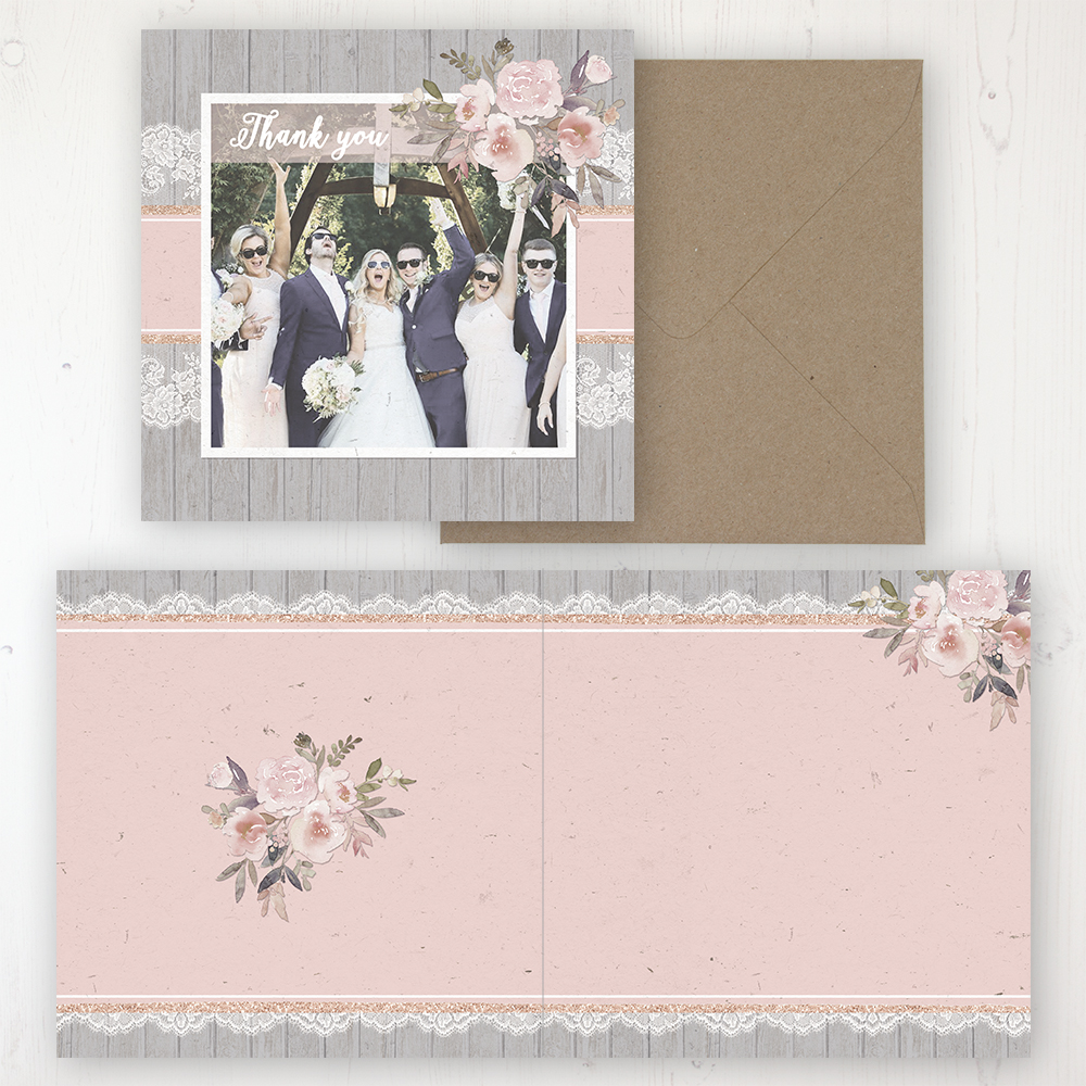 Delicate Mist Wedding Thank You Card - Folded Personalised with a Message & Photo