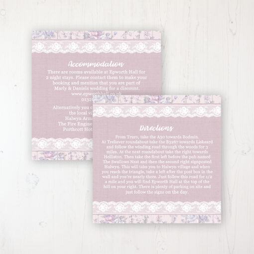 Dusky Dream Wedding Info Insert Card Personalised Front & Back