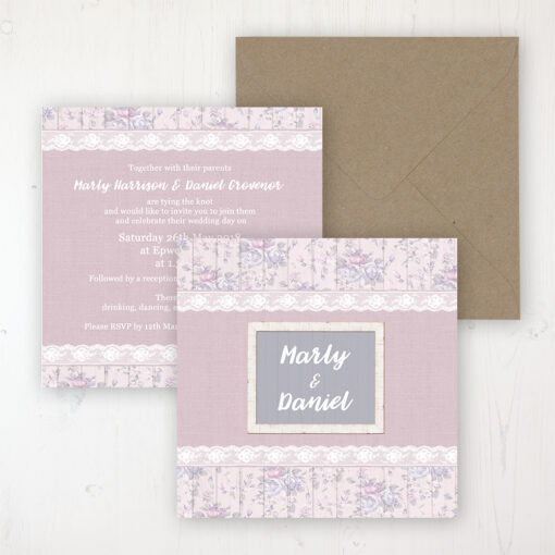 Dusky Dream Wedding Invitation - Flat Personalised Front & Back with Rustic Envelope