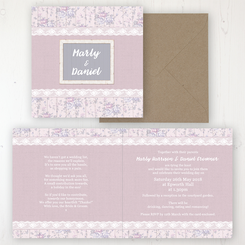 Dusky Dream Wedding Invitation Folded Personalised Front Back With Rustic Envelope