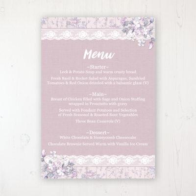 Dusky Dream Wedding Menu Card Personalised to display on tables