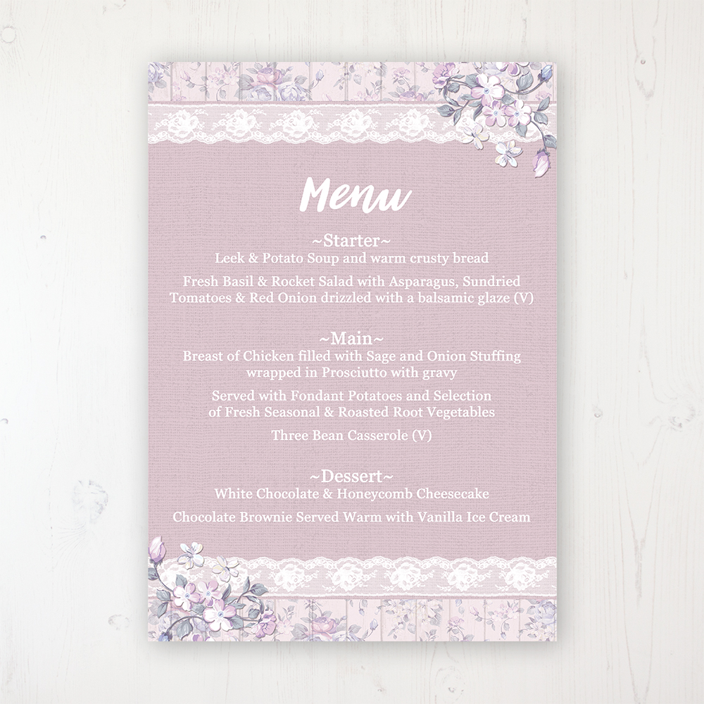 Dusky Dream Wedding Menu Card Personalised to display on tables