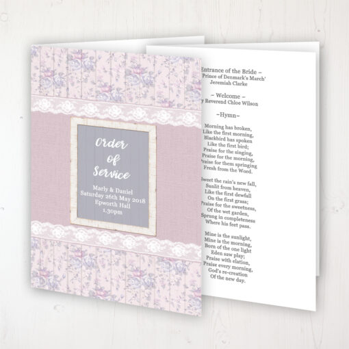 Dusky Dream Wedding Order of Service - Booklet Personalised Front & Inside Pages