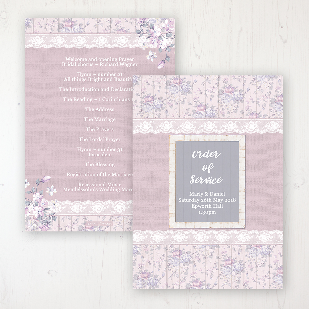 Dusky Dream Wedding Order of Service - Card Personalised front and back