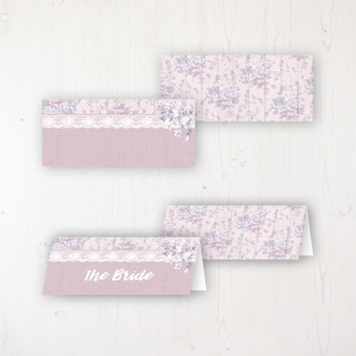 Dusky Dream Wedding Place Name Cards Blank and Personalised with Flat or Folded Option