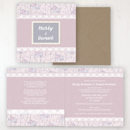 Dusky Dream Wedding Invitation - Folded Personalised Front & Back with Pocket in inside cover. Includes Rustic Envelope