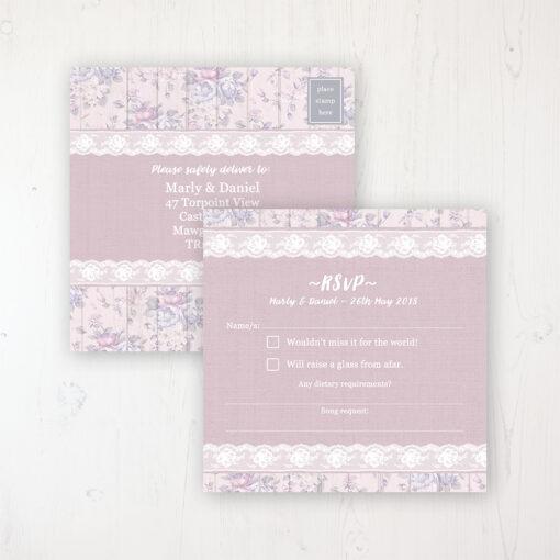 Dusky Dream Wedding RSVP Postcard Personalised Front & Back