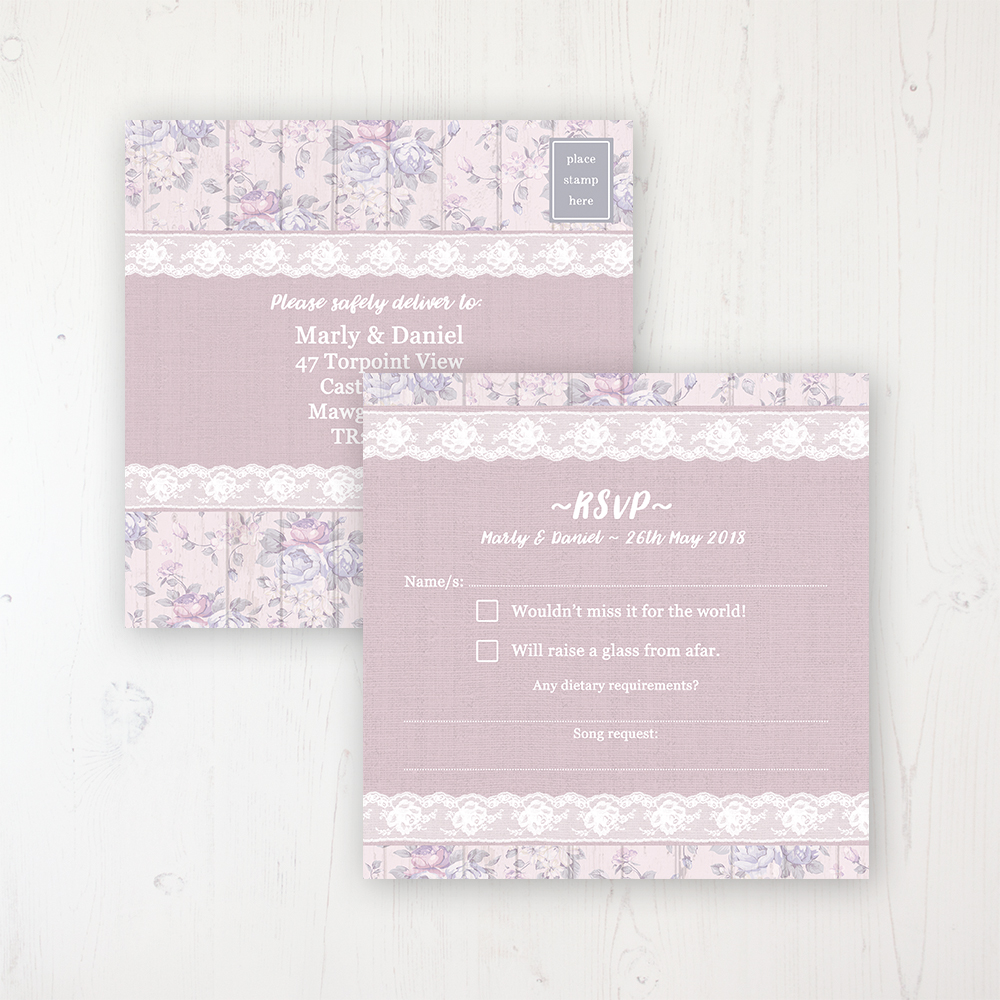 Dusky Dream Wedding RSVP Postcard Personalised Front & Back