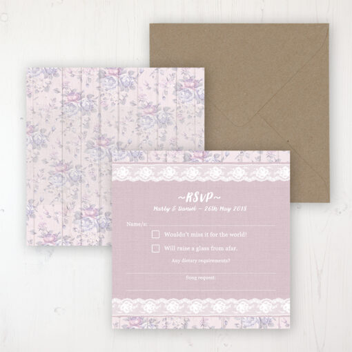 Dusky Dream Wedding RSVP Personalised Front & Back with Rustic Envelope