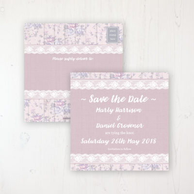 Dusky Dream Wedding Save the Date Postcard Personalised Front & Back