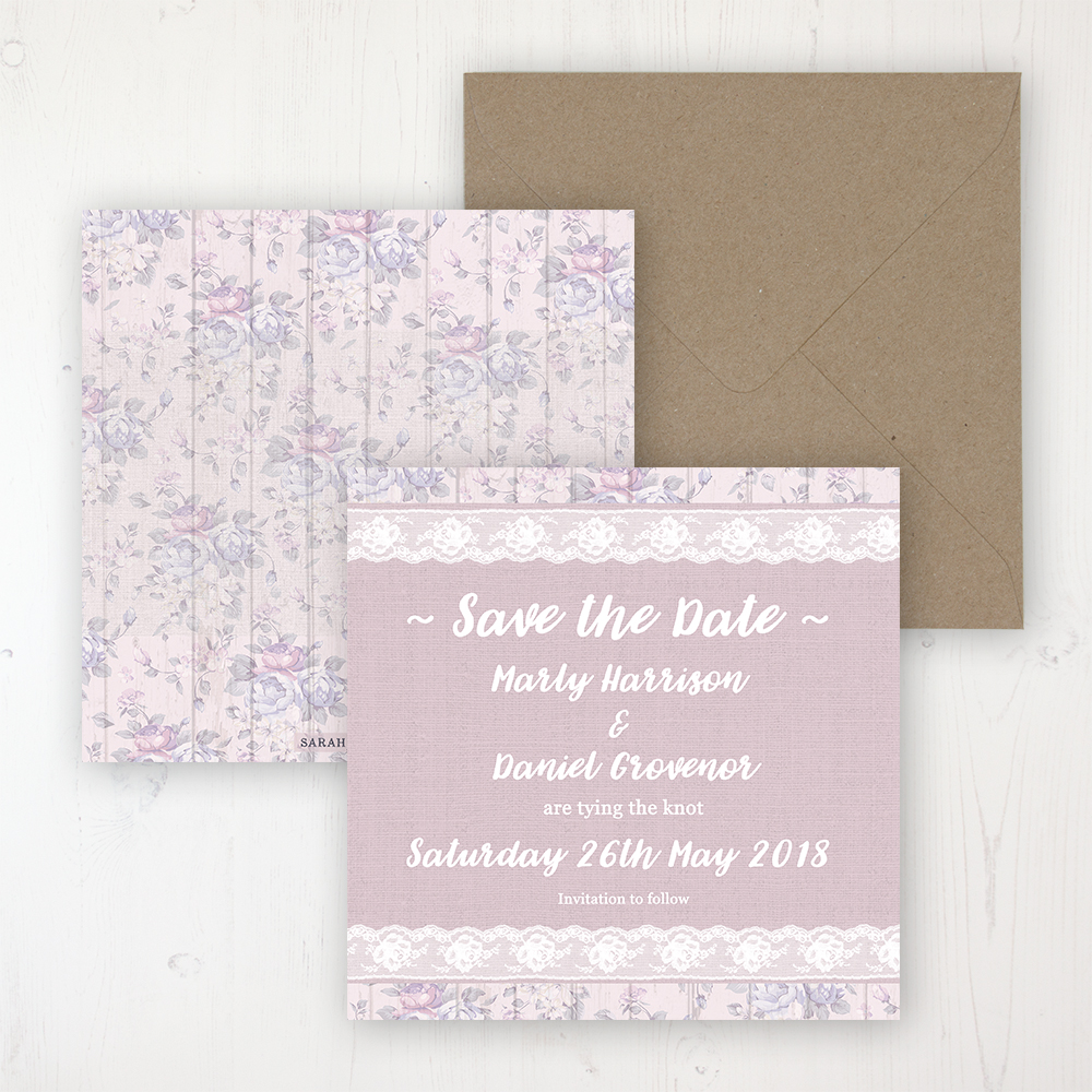Dusky Dream Wedding Save the Date Personalised Front & Back with Rustic Envelope