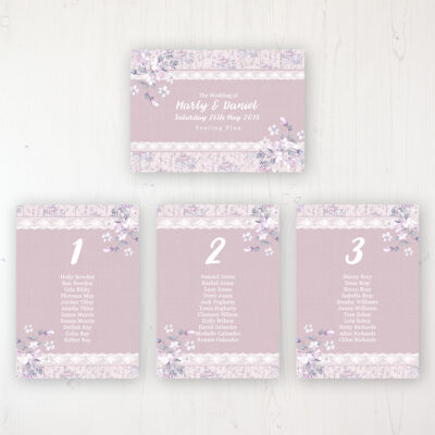 Dusky Dream Wedding Table Plan Cards Personalised with Table Names and Guest Names