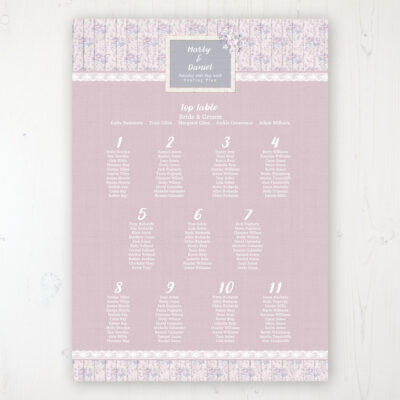 Dusky Dream Wedding Table Plan Poster Personalised with Table and Guest Names