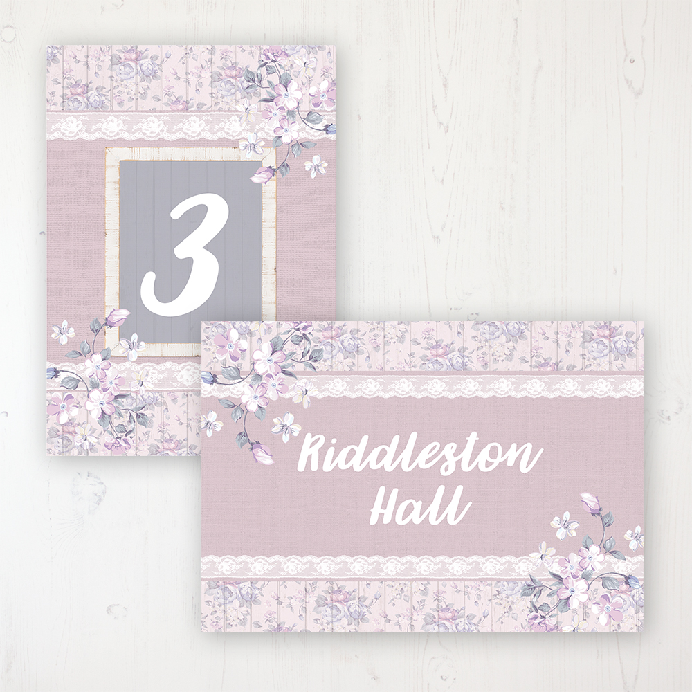 Dusky Dream Wedding Table Name & Number Personalised Table Name Card and Number Card