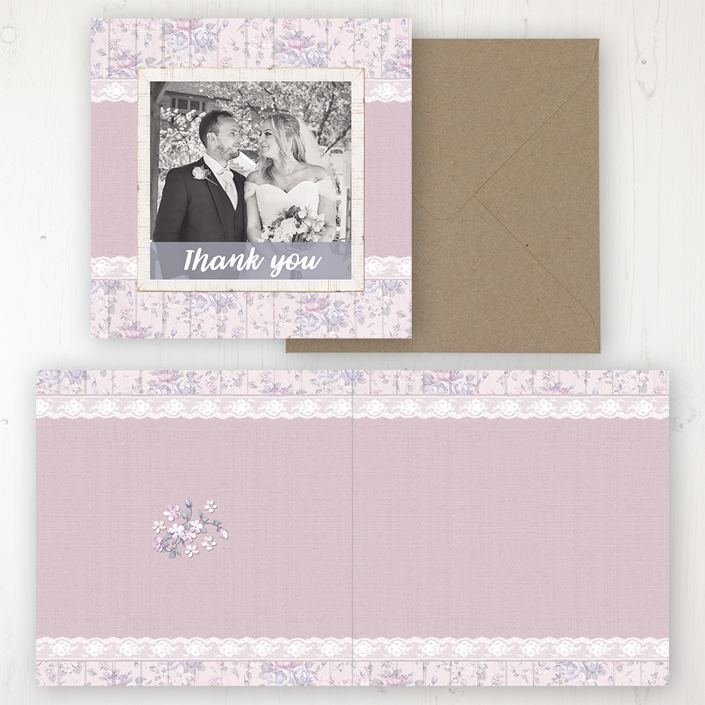 Dusky Dream Wedding Thank You Card - Folded Personalised with a Message & Photo