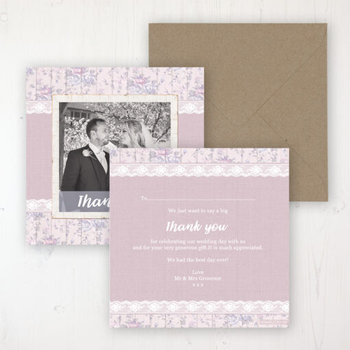 Dusky Dream Wedding Thank You Card - Flat Personalised with a Message & Photo