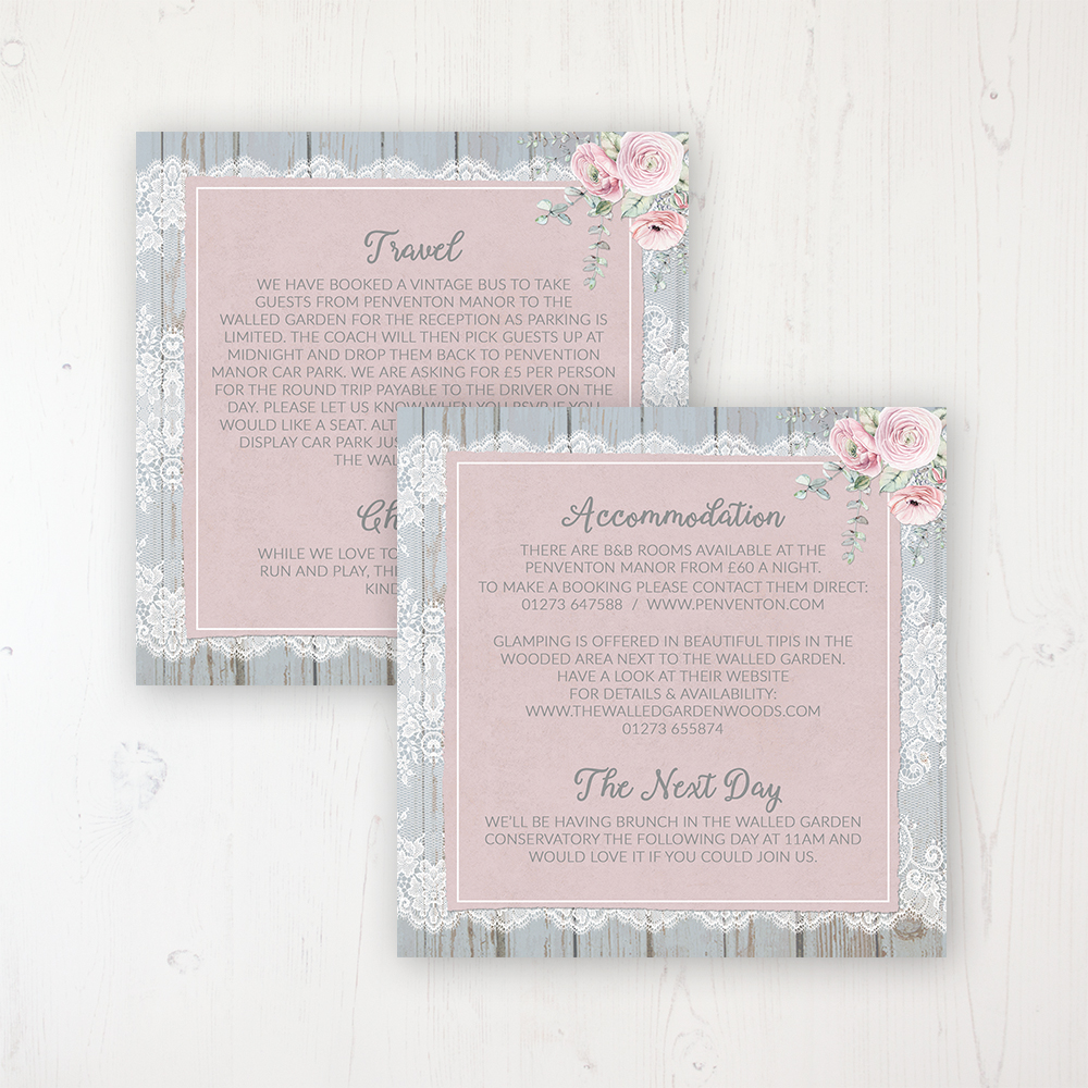 Dusty Flourish Wedding Info Insert Card Personalised Front & Back