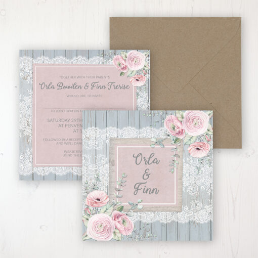 Dusty Flourish Wedding Invitation - Flat Personalised Front & Back with Rustic Envelope