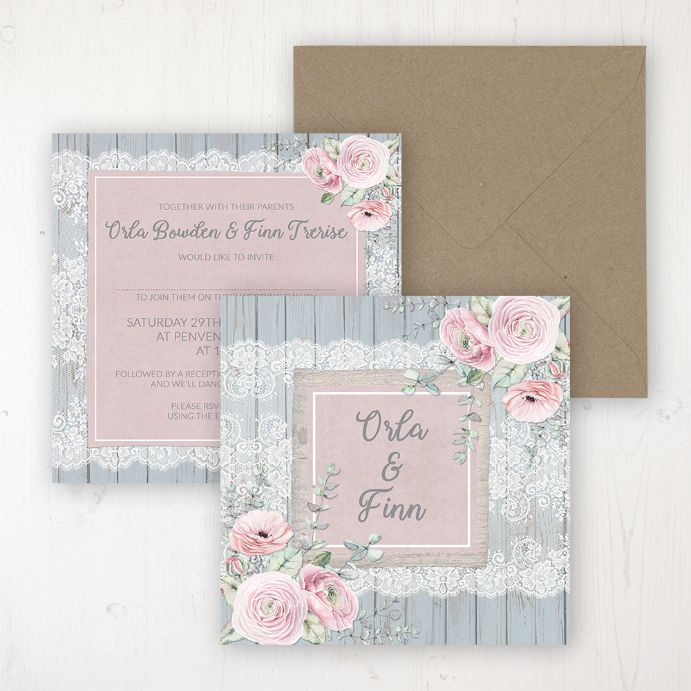 Dusty Flourish Wedding Invitation - Flat Personalised Front & Back with Rustic Envelope