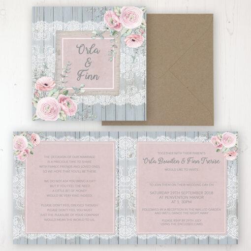 Dusty Flourish Wedding Invitation - Folded Personalised Front & Back with Rustic Envelope