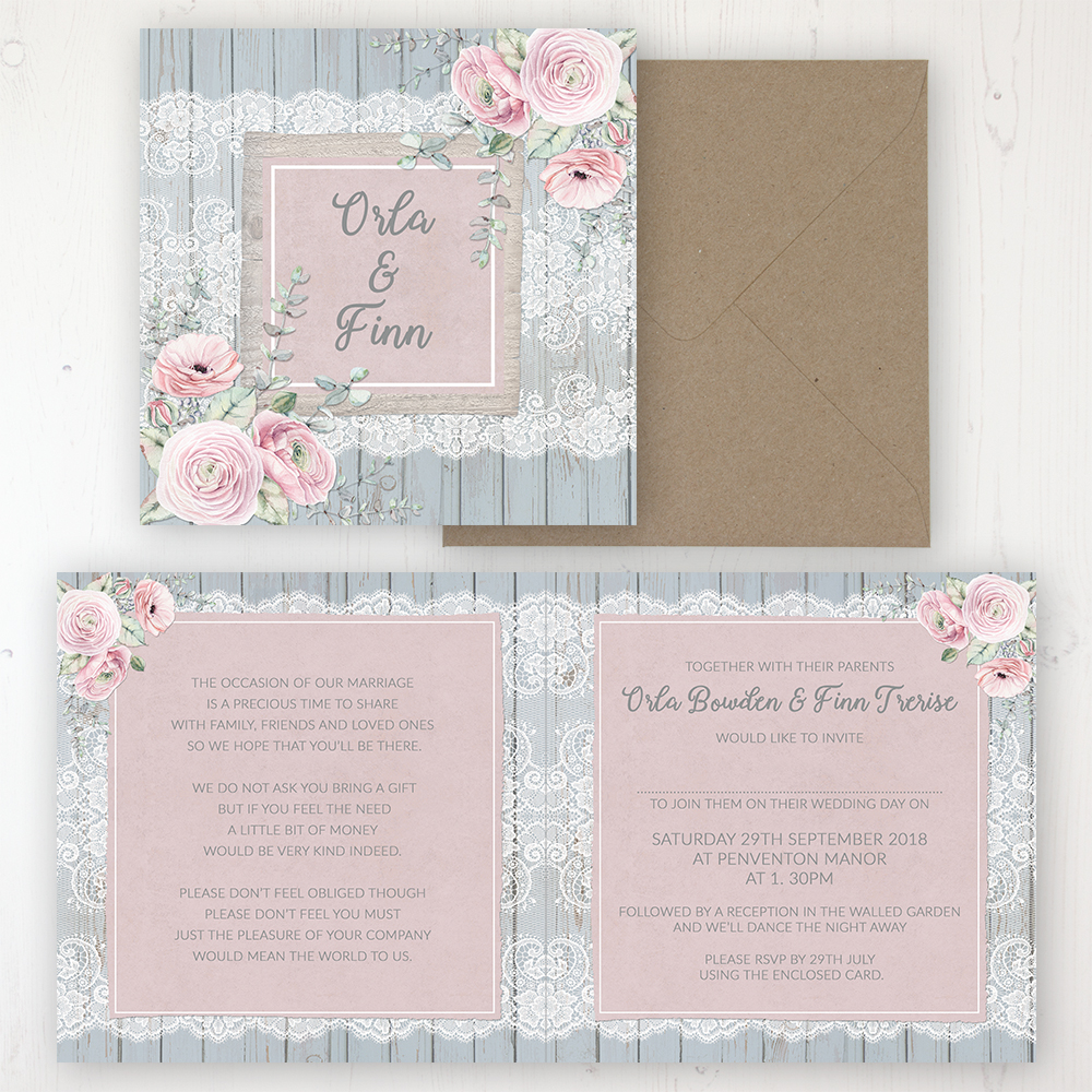 Dusty Flourish Wedding Invitation - Folded Personalised Front & Back with Rustic Envelope