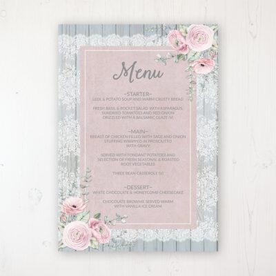 Dusty Flourish Wedding Menu Card Personalised to display on tables