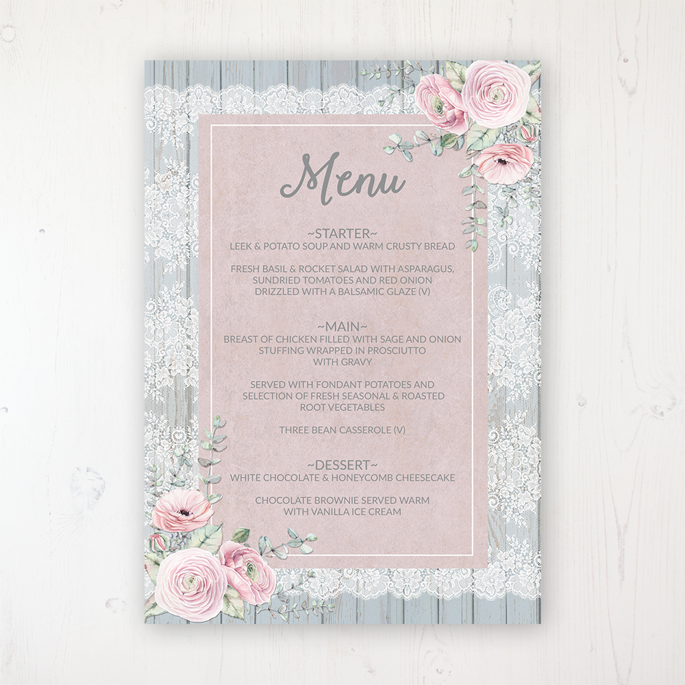 Dusty Flourish Wedding Menu Card Personalised to display on tables