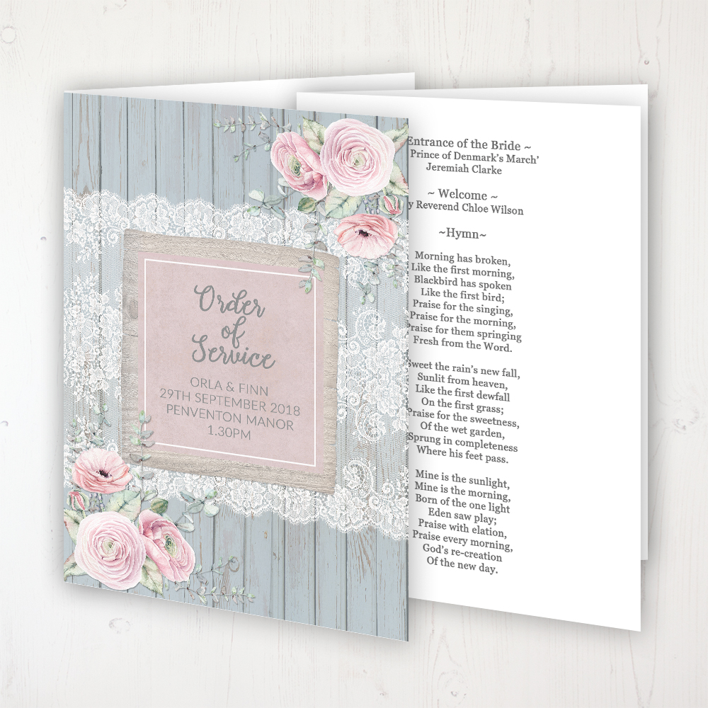 Dusty Flourish Wedding Order of Service - Booklet Personalised Front & Inside Pages